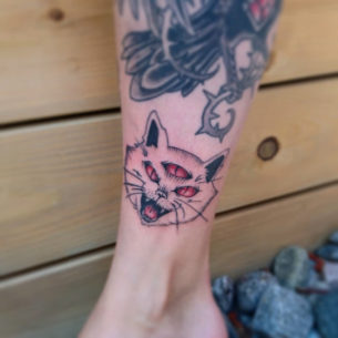 Three Eyed Cat Tattoo