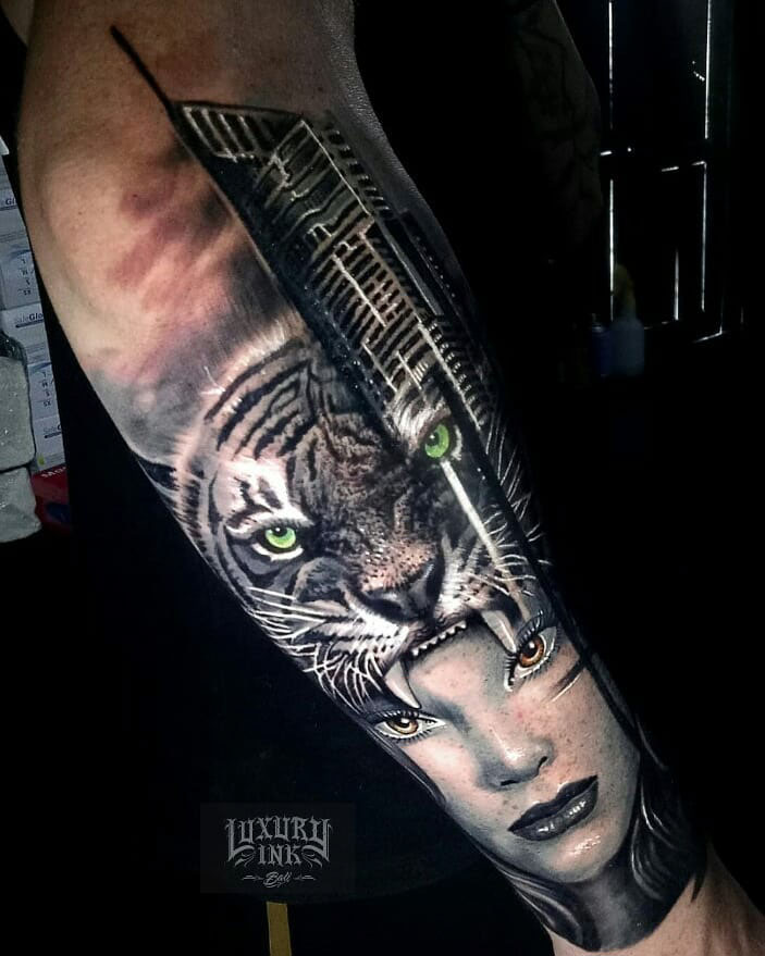 Tiger Girl Face Tattoo