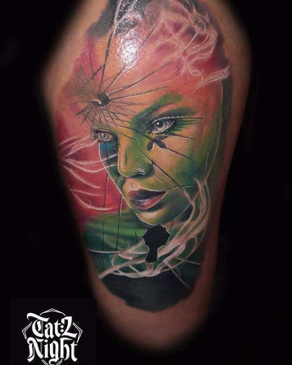 Umbrella Girl Face Tattoo