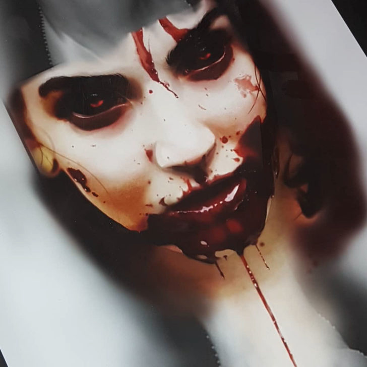 Vampire Girl Face Tattoo Design