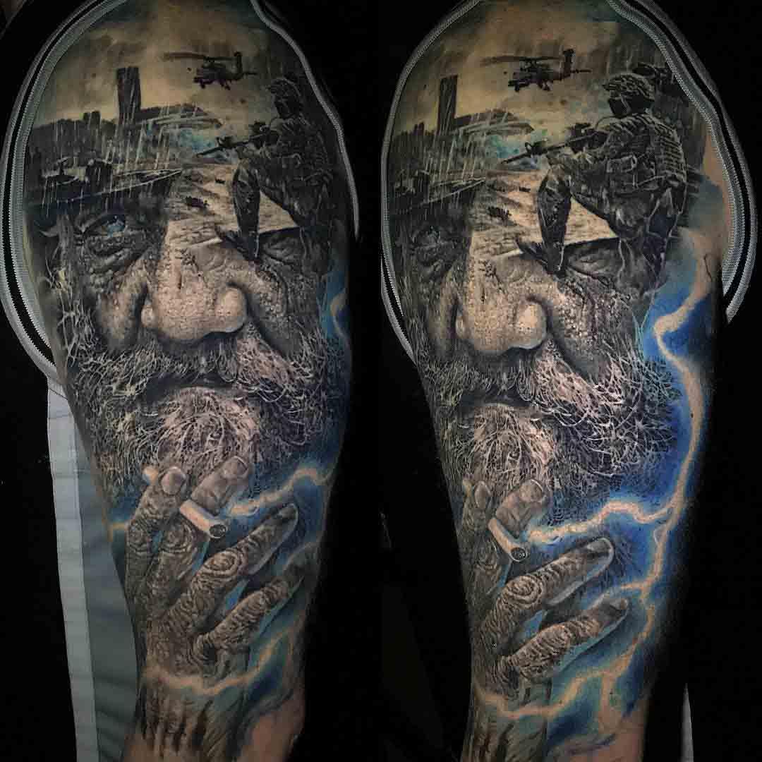 shoulder tattoo flashback war