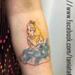 Watercolor Alice in Wonderland Tattoo