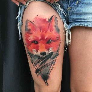 Watercolor Fox Tattoo on Thigh