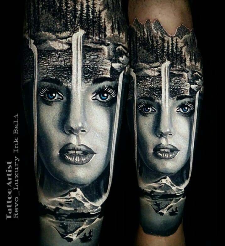 Waterfalls Girl Face Tattoo