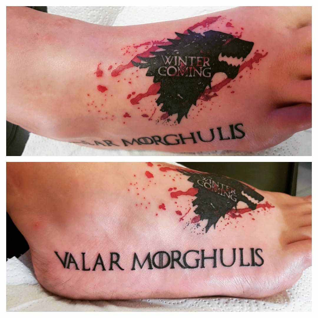 Game of thrones tattoo on foot