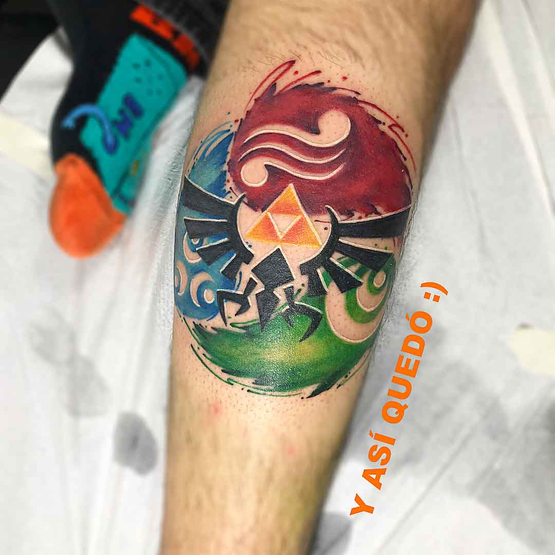 arm tattoo zelda emblem