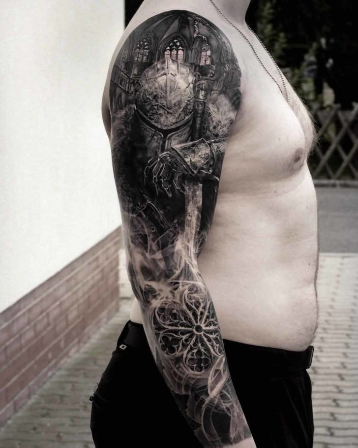 full tattoo sleeve medieval knight