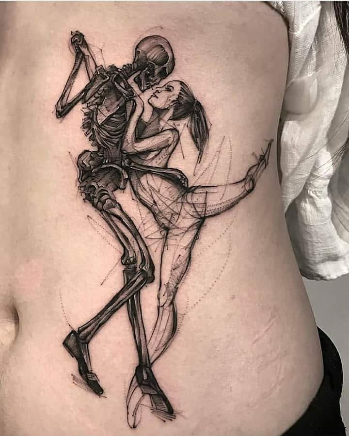 side tattoo ballet skeleton