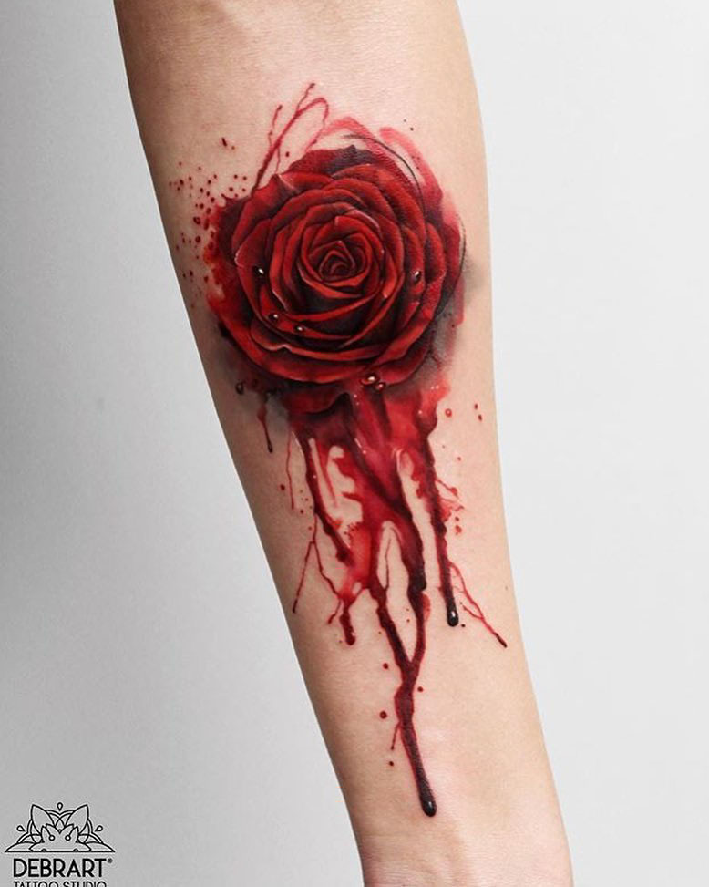 arm tattoo rose blood