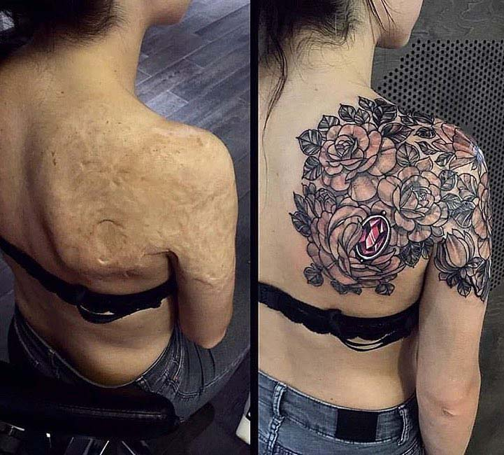 shoulder blade tattoo cover up