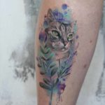 Cat Tattoo Watercolor Style
