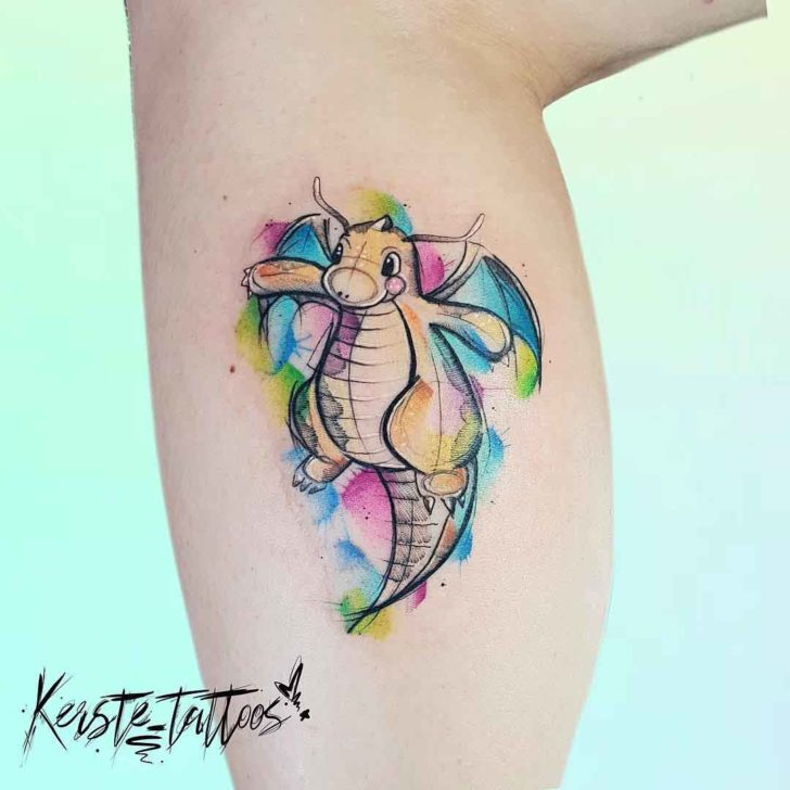 watercolor dragon tattoo