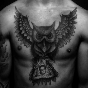 Dark Owl Tattoo on Chest