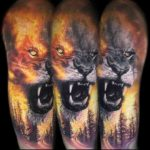 Flames and Lion Tattoo