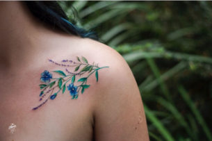 Flower Tattoo on Collar Bone