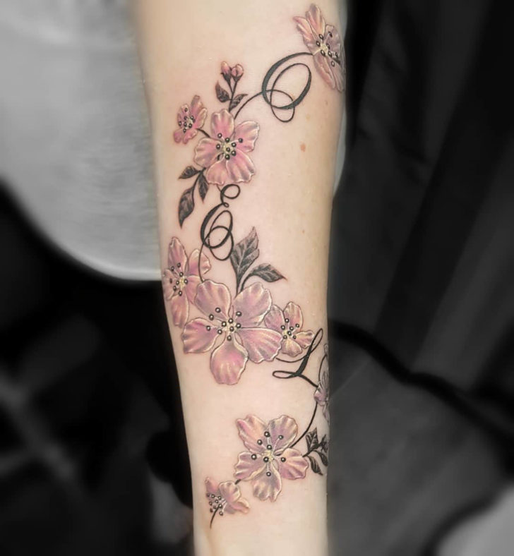 arm tattoo flowers