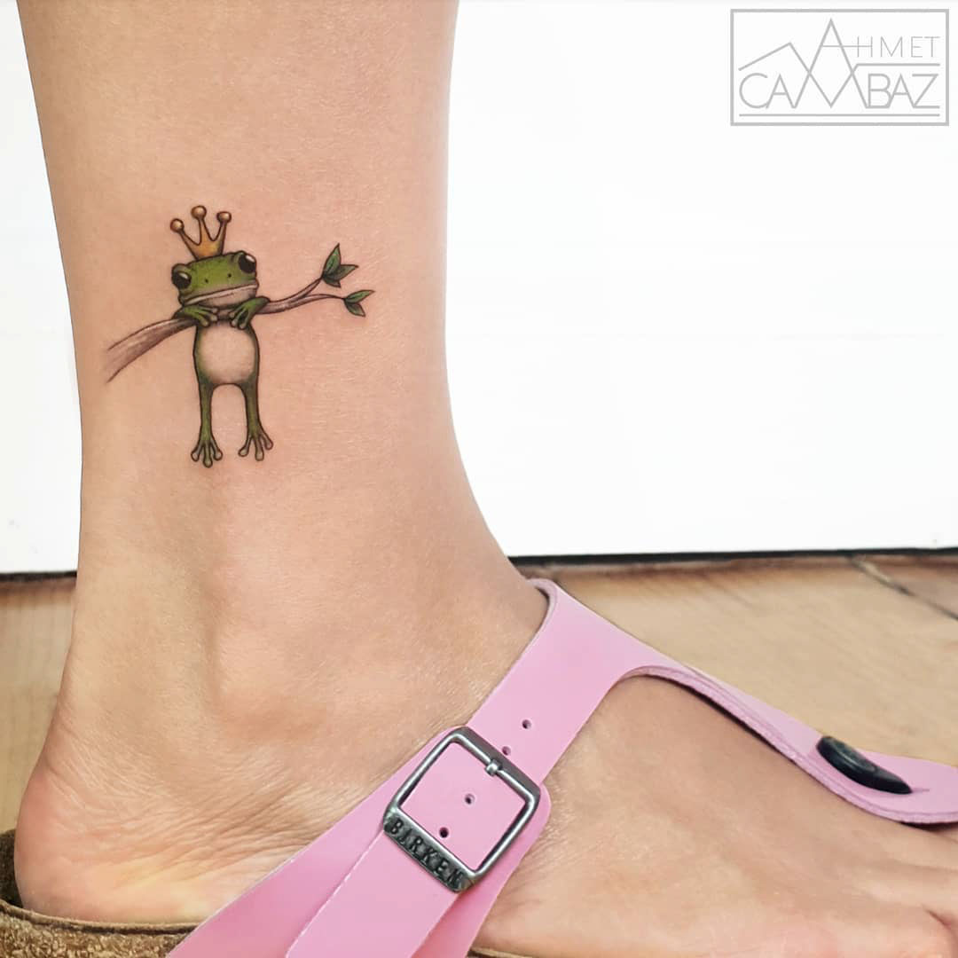 ankle tattoo frog queen