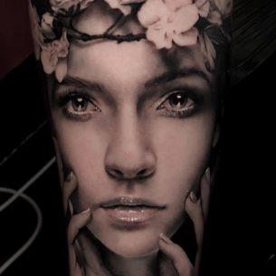 Girl Realistic Portrait Tattoo