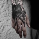 Hand Tattoo Crow Head