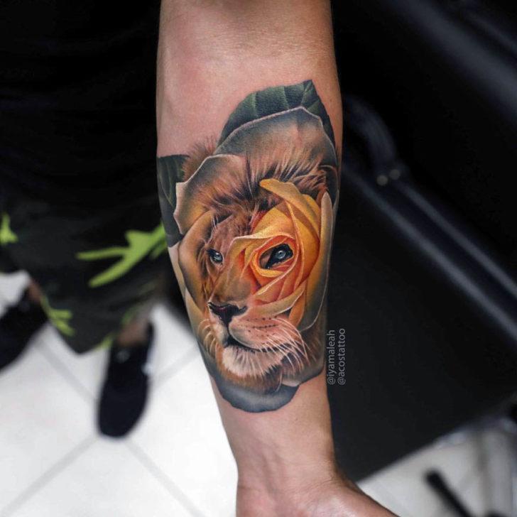 arm tattoo lion rose