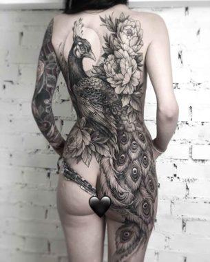 Peacock Tattoo on Full Back