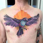 Purple Bird Tattoo on Chest