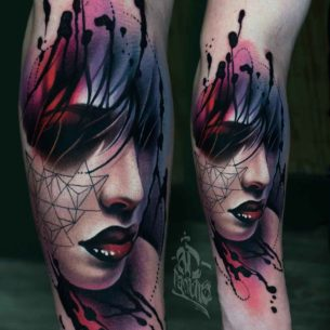 Red Lips Watercolor Portrait Tattoo