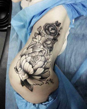 Side Flowers Tattoo