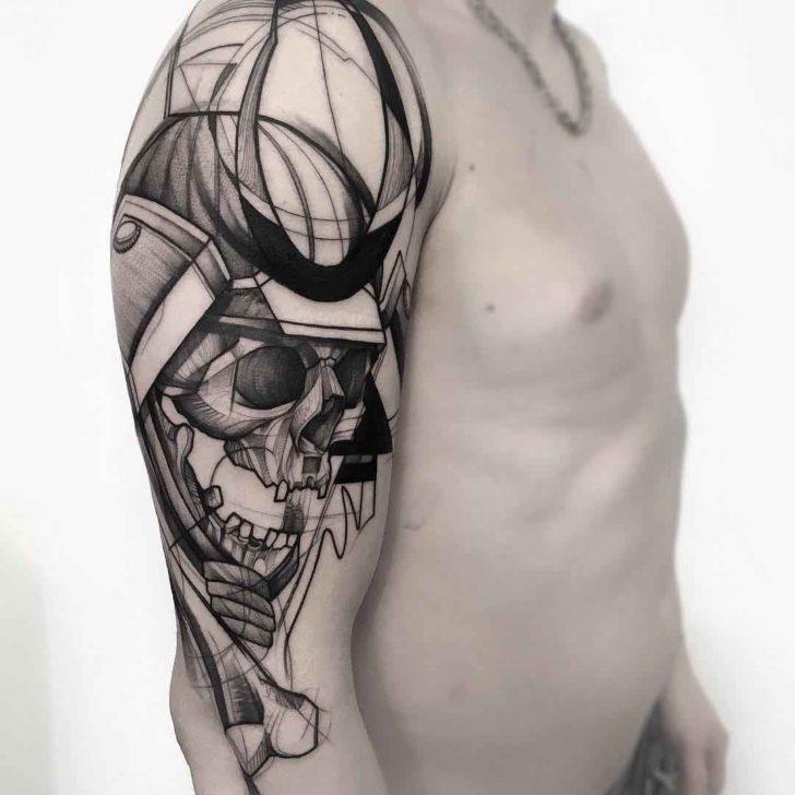 shoulder tattoo samurai skeleton