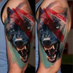 Snarling Wolf Tattoo on Shoulder