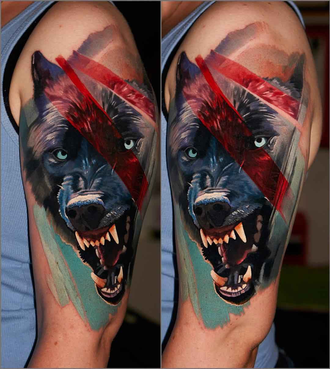 wolf tattoo snarling