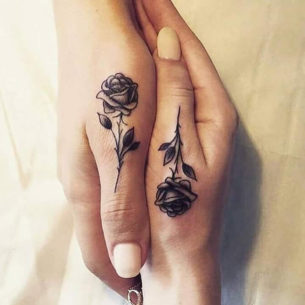 Thumb Roses Couple Tattoo