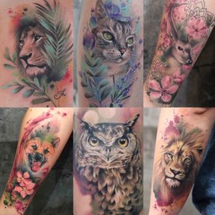Animal Tattoos Watercolor Style