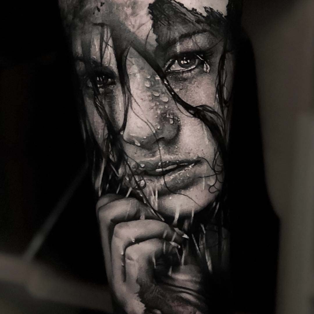 black and grey girl portrait tattoo