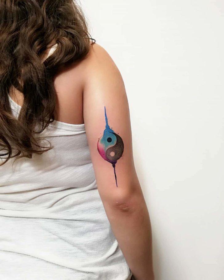 ying yan tattoo watercolor style