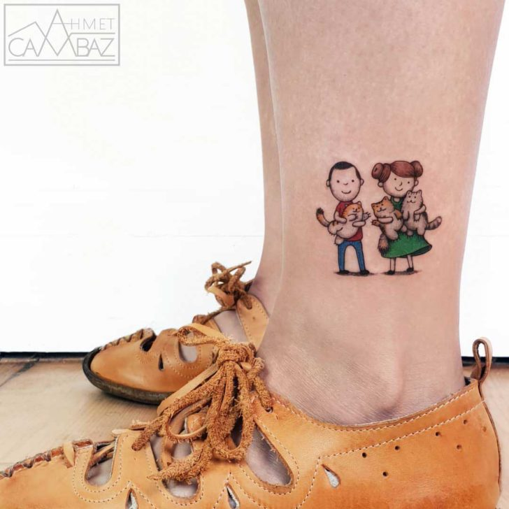 ankle tattoo happy couple