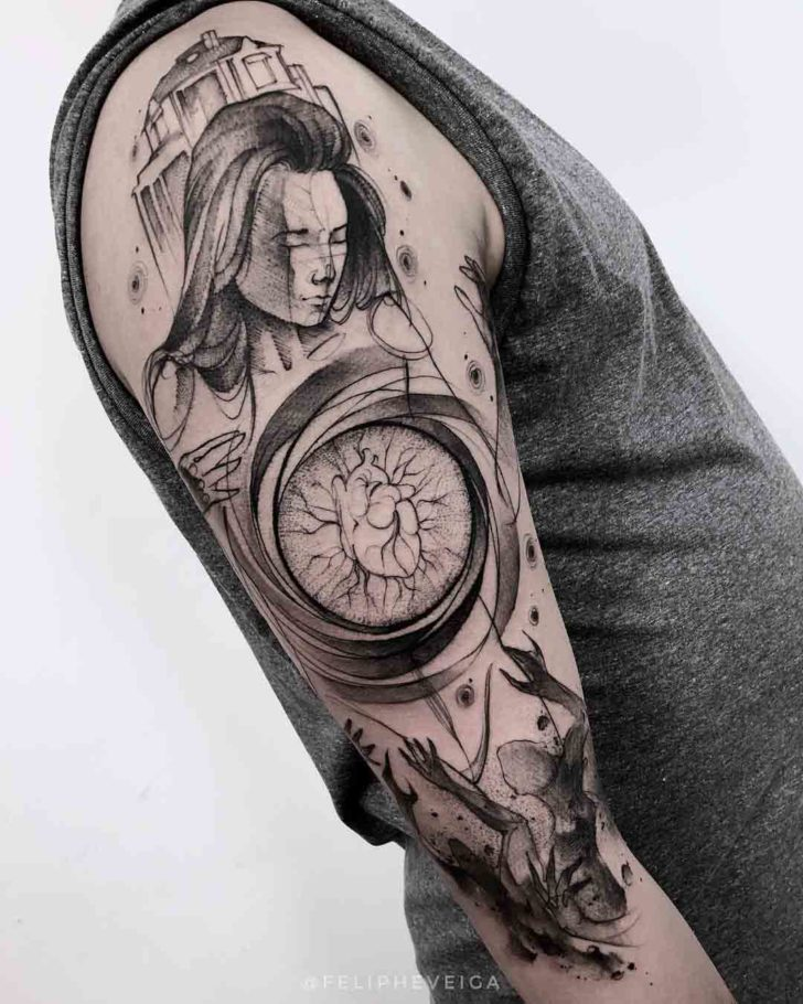 shoulder grey tattoo