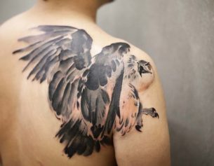 Back Shoulder Hawk Tattoo