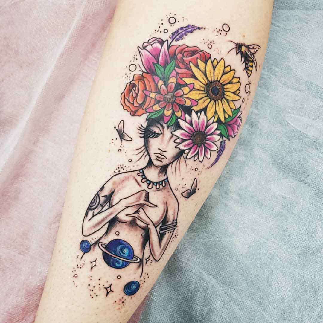 arm tattoo flowers mother nature