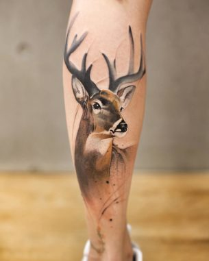 Deer Tattoo on Calf