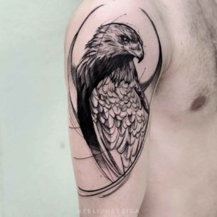 Hawk Tattoo on Shoulder