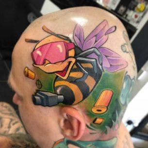 Machine Gun Bee Tattoo