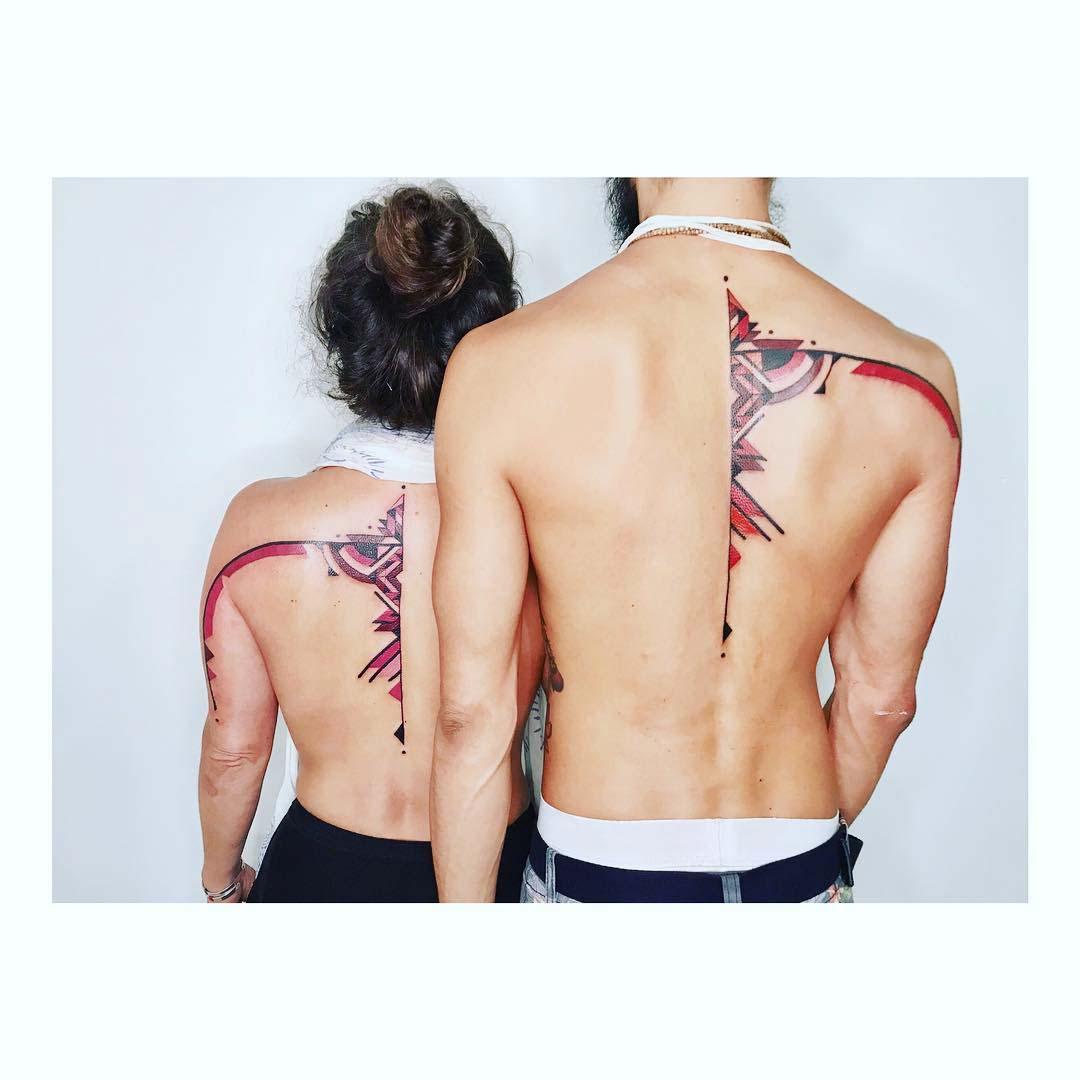 couple back tattoo ornaments