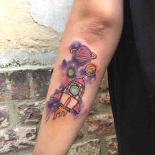 Rocket Drawing Tattoo