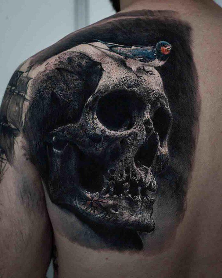 skull tattoo on shoulder blade