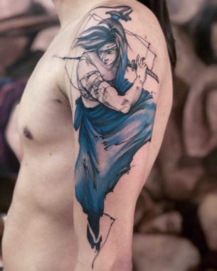 Shoulder Samurai Tattoo