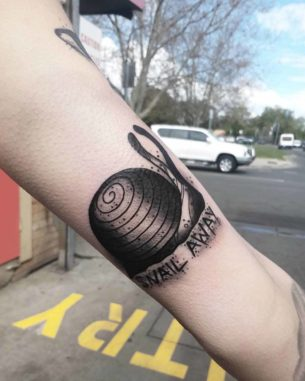 Snail Away Tattoo
