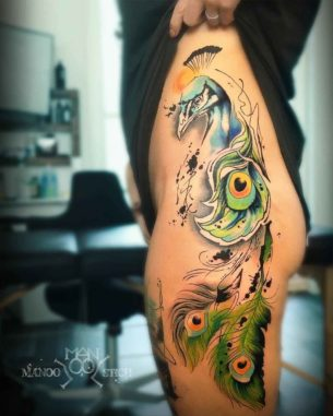 Watercolor Peacock Tattoo on Hip