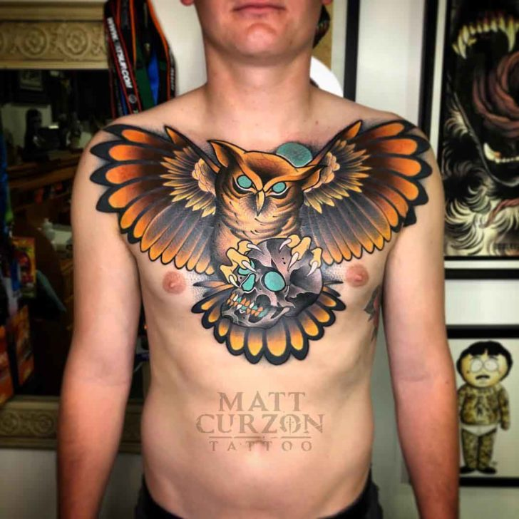 chest tattoo owl with skull