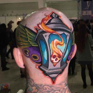 Back Head Lantern Tattoo